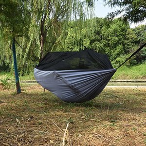 Camping Garden Hammock with Mosquito Net Outdoor Furniture 1-2 Person Portable Hanging Bed Strength Parachute Fabric Sleep Swing
