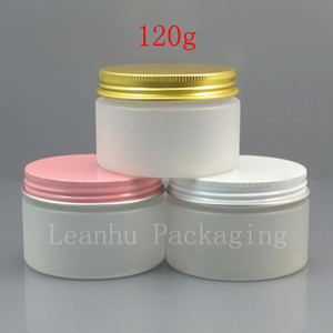 50 x 120g frosting white cream PET jar with gold   pink   screw cap , 120ml cosmetic plastic round empty bottle