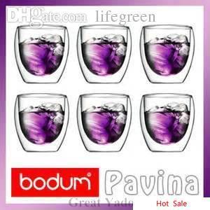 Großhandels-Set von 6 Stück Bodum Pavina Double Wall Thermoglas Tasse Becher für Tee / Espresso / Wodka 80mlSet von 6 Stück Bodum Pavina Double