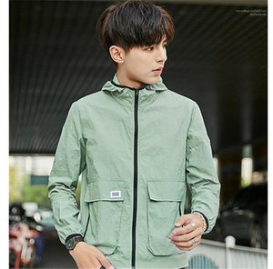 Color Jackets Hooded Long Sleeve Mens Coats Spring Mens Outwear with Zipper Fashion Designer Solid
