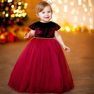 Kids Girl Christmas Dress Princess Birthday Party Wedding Formal Dress Sleeveless High Waist UP 6M-5T Children Clothes