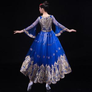 Gros-Inde vêtements de scène ouïgoure Styles ethniques Costume Femme Inde Elegent Lady broderie robe longue