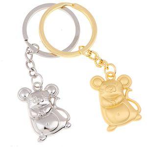 New Chunky Rat Mouse Keychain Fashion Trinket Animal Car Keyfob Bag Pendant Key Chain Personalized Keyring for Women Gift