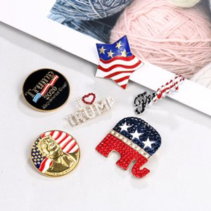 6 Styles Donald Trump 2020 US Presidential Election Diamond pin Trump Election Commemorative Badge ZZA2156 100Pcs