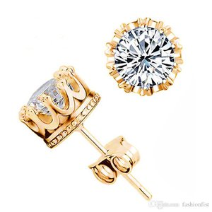 Yeni Nişan Güzel Takı Kadınlar 925 Gümüş Taç Düğün Stud Küpe Parlak Kristal Simüle Diamonds Geldi