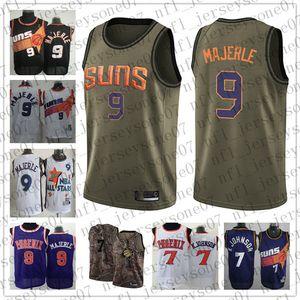 Los hombres de encargo Phoenix juventudSoles7 Kevin Johnson 9 Dan Majerle negro púrpura Baloncesto Edición retrocesoNBAJersey