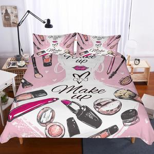 Yi Chu Синя 3d косметические моды одеяло комплект крышка размер короля комплект постельных принадлежностей полный размер кровати постельное белье
