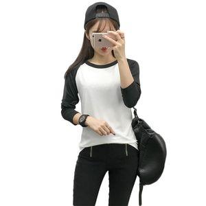 Raglan Tshirts Women Fashion Long Sleeve Black and White t shirt Korean style Clothes Women Casual O-Neck Tops Tee shirt Femme