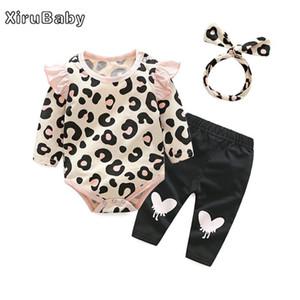 xirubaby niña otoño ropa fijada nacidos leopardo mamelucos + pants + headband 3pcs equipos del juego de la ropa de los bebés lactantes conjunto