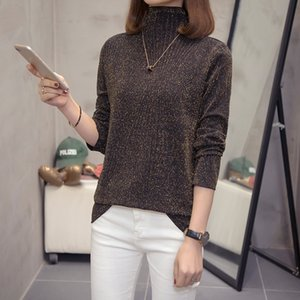 Tamaño Nkandby Plus de punto metálico Tops Otoño Invierno 2020 Moda cuello de tortuga de gran tamaño camiseta de manga larga de Corea camisetas de las señoras