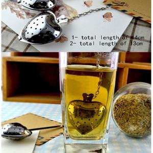 Чай Infusers Love Heart Shaped Ложок чай Сито из нержавеющей стали Круче Ручка цепь Регулируемых Herb Вкладыш фильтра пакетики