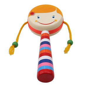 1pc Smile Baby Kids Children Shaking Wooden Rattle Drum Musical Hand Bell Drum Toy Percussion Educational Instrument Toy