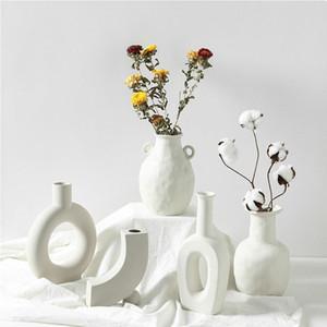 Nórdic ins vaso cerâmico casa ornamentos branco vegetariano criativo cerâmico flor vasos decorações domésticas artesanato presentes T200617