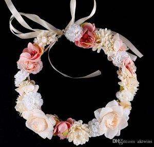 Casamento Flor Grinalda Hairband nupcial guirlandas Garland Crown headband Meninas florais princesa flores grinaldas nupcial tiara LXL70-1