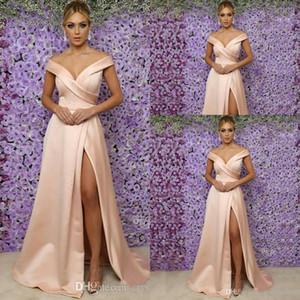 Günstige Einfache Erröten rosa Mutter Off Braut Kleider weg von der Schulter vorne Split Satin Backless bodenlangen Hochzeitsgast Kleid Abendkleider