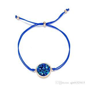 Sparkling Pulseira Pedra Natural jóias de cristal de quartzo druzy Charm Bracelet por Mulheres corda cadeia de dom Cuff Bangles