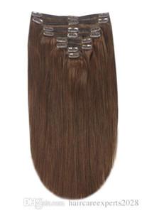 ELIBESS ВОЛОС Full Head Remy Клип в Extensions 100г / набор волос 8шт человека - Medium Brown (# 4)