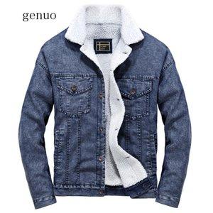 Nuovo Inverno calda lana Uomini monopetto Fleece Denim Giubbotti Uomo Slim Fit collo di pelliccia amanti spessi Denim Jeans Cowboy Cappotti
