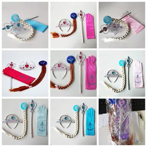 5pcs / set della principessa della neonata accessori Parrucca Corona + Magic Wand Guanto Cosplay per i bambini Vesti Gifts Party Girl