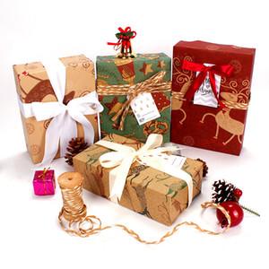 Motif de Noël papiers d'emballage 50 * 70 cm Noël Nouvel An Cadeau Cadeau Kraft Wrap papier Kraft Rétro cadeau Papiers décoratifs