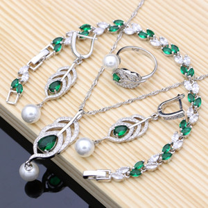 ashion Jewelry Sets 925 Silver Bridal Pearls Jewelry Sets Natural Green Zircon Women Wedding Earrings Adjustable Ring Bracelets Necklace...