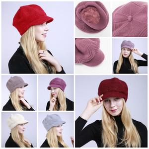 2019 capa de moda de Inverno Ao ar livre chapéu quente para mulheres tricotada de lã macia Tamanho do chapéu ajustável 9 estilos T3I5390