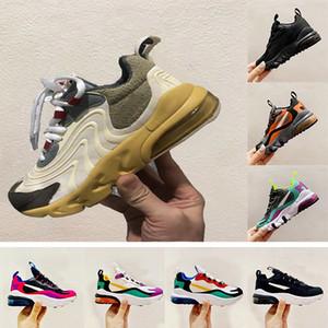 Con Box Kids Nike air Max 270 React Zapatos para correr Niñas Niños Bauhaus RT Zapatos para niños Hyper Pink Bright Violet Zapatos para niños talla 24-35