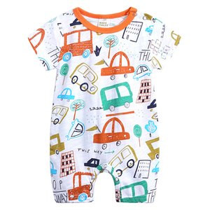 2019 Baby Romper Short Sleeve Organic Cotton Baby Clothes Summer Animal New Born Knitted Boy Girl Clothes Unisex Ropa Bebe 0-18M