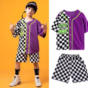 Chicos Hip-Hop Danza Costuems niños a cuadros de manga corta de Hiphop juego de los niños de la calle Jazz Dance desgaste de la etapa del delirio de ropa DQS4368