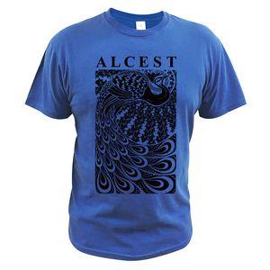 Размер EU 100% хлопок Футболка Alcest Black Mental Rock Band печати Tops Homme Summer Комфортная Повседневный шею майка