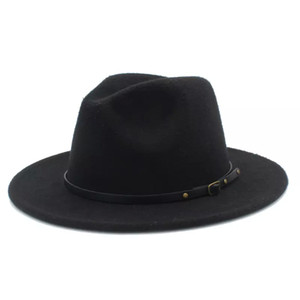 Fashion-100% Wool Women Outback Felt Gangster Trilby Fedora Sombrero con ala ancha Jazz Godfather Cap Szie 56-58CM X18