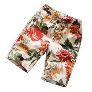 Été Hommes Shorts Motif jeunesse coréenne d'été Loisirs Bermudes longueur au genou normal Mode Plage Floral Shorts Hommes Tide