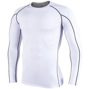 Koşu gömlekler fit erkek spor giyim kepçe boyun uzun yldiyo iç çamaşırı vücut geliştirme suiit polyester ap Pare kollu kuru