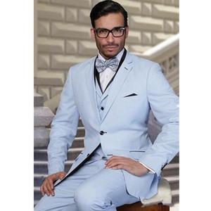 Ensoleillé Tuxedos Groom Bleu clair Mode Mariage De Mariage Tuxedos Hommes Veste Blazer Excellent 3 Piece Suit (Veste + Pantalon + Cravate + Gilet) 1662