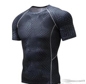 Dragón medias de manga corta de los deportes de los hombres delgados de la ropa ajustada camiseta de los hombres de manga corta