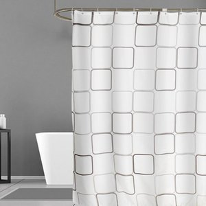 White Shower Curtain Waterproof Bathroom Curtains Polyester Bath Curtain Bathtub Bathing Cover with 12 Hooks
