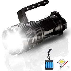 Linterna LED de alta potencia de 2500 lúmenes XHP50 USB recargable linterna táctica lámpara portátil con reflector LED con cargador de batería