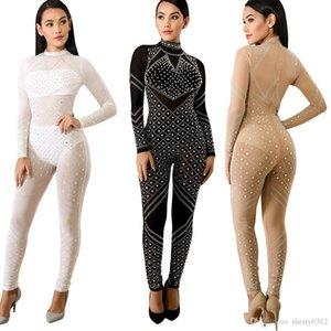 2018 Primavera Outono New Mulheres Moda Sexy Sequins magro Magro Hot perfuração Voltar Zipper Perspectiva One Piece Suit Bling Discoteca Macacões