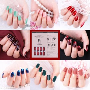 12Pcs / Set Reusable Acrylic Fake Nails With Lagesive Sticker Glue Press On Nail Full Cover Tips Nails Extension Manicure Tool