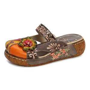 Johnature Retro Appliques Sandals 2020 New Genuine Leather Women Summer Ladies Shoes Woman Flower Bohemia Sandals