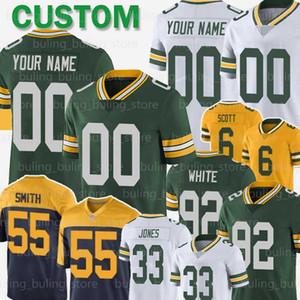 6 JK Scott Jersey personalizado Green BayPacker 33 Aaron Jones 55 Za'Darius Smith 80 Donald Driver 92 Reggie White Kumerow Crosby Futebol
