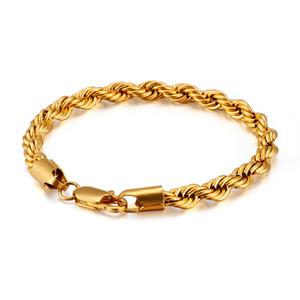 Braccialetto in acciaio inossidabile 316L in oro 18 carati in acciaio inox Twist Twist Bracelet Acciaio in titanio Uomini e donne gioielli