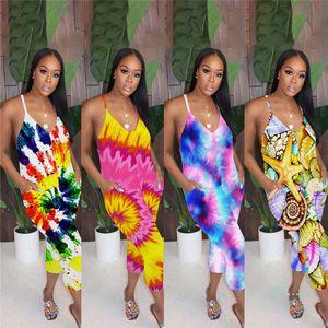 Tie Dye Cor Harem Calças Mulher Strap Macacão Verão mangas Romper Low V Neck Sexy One Piece Club Beach pano Sportswear S-XL D5608