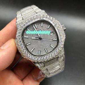 Лучшие модные мужские часы популярные глобальные высококачественные часы с горячей продажей серебряные полные алмазные автоматические часы