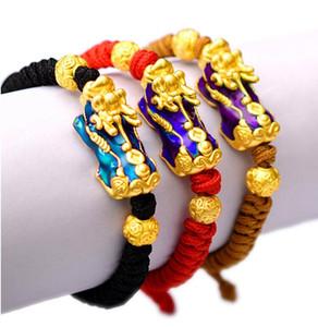 Lucky Red Rope Pulseras Pixiu Gold Color Tibetano Budista Nudo Ajustable Charm Bracelet Para Mujeres