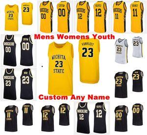 NCAA Wichita Eyalet Şok Formalar Mens Brycen Bush Jersey Jaime Echenique Morris Udeze 32 Tate Busse Basketbol Formalar Özel Dikişli
