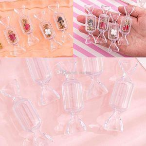 Forma caramelo Caja de almacenamiento de azúcar joyería Ring Craft caso del almacenaje del caramelo creativo transparente caja de embalaje de la casa para guardar Organización WX9-1820