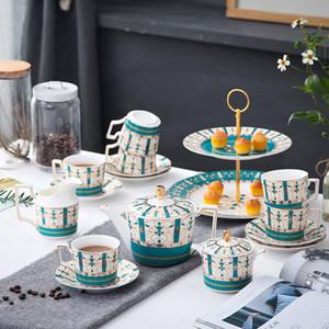 Sets tasses à cappuccino soucoupe tasses en céramique Parfaits avec 17 Pieces English Vintage Afternoon Tea Cups Teapot Set Cadeaux Pastorale # 535