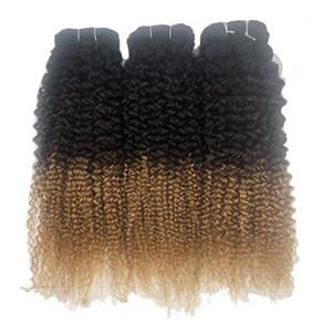 Ombre Loira Brasileira Kinky Curly Virgem Cor Do Cabelo 1B / 4/27 Jerry Encaracolado 3/4 Bundles Extensões de Cabelo Humano