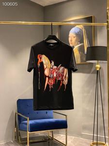 European Station Estate 2019 Trend uomo Brand Fashion Nuovo Tipo Dahua Horse Hot Drill Mercerizzato Cotone girocollo manica corta T-shirt marea
